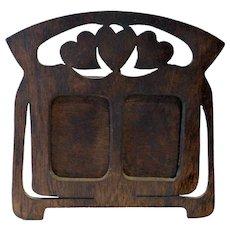 Art Nouveau Hand Made Double Photo Frame- Folk Art