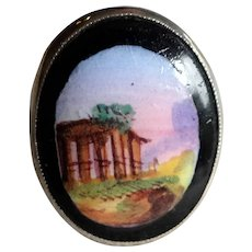 French Silver Ring with Hand Painted Glass Landscape Scene