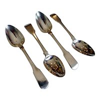 Set of 4 early Cutshing Chinese export silver teaspoons