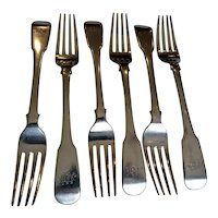 6 Chinese Export Silver Dinner Forks in the Fiddle Pattern by Yatshing