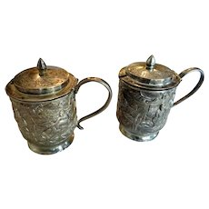 Pair of late 19th c. Chinese Export Silver Pepper/ Condiment Pots