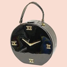 Unique vintage round black patent Triangle NY clock handbag, purse, bag