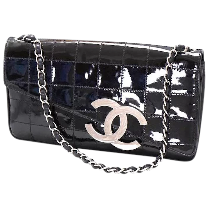 8e464c812ab10b Dramatic Vine Black Patent Chanel Clutch Handbag Purse Bag