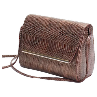 Ande brown snake skin shoulder box bag, purse, handbag