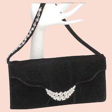 Classic Jeanne Lottie vintage black velvet and rhinestones clutch, handbag, purse