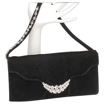 Classic Jeanne Lottie vintage black velvet and rhinestones clutch, handbag, purse