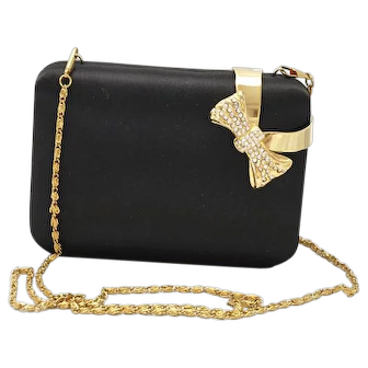 Stunning SASHA old stock/new vintage black peau de soie-satin evening bag, purse, handbag, shoulder bag, clutch
