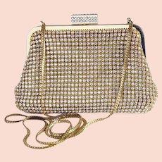 Glamorous Y & S rhinestone studded gold evening bag, clutch, handbag, purse, shoulder bag