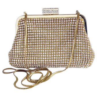 Glamorous Y & S rhinestone studded gold evening bag, clutch, handbag, purse, shoulder bag
