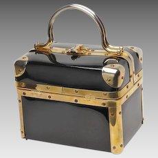 Delicious vintage Delill black patent box bag, purse, bag, handbag ..So in Style!