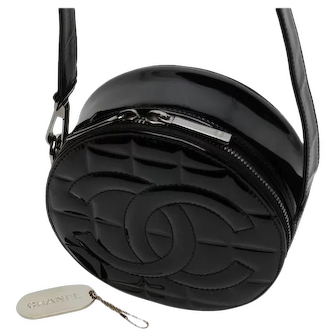 Dramatic Authentic Vintage Chanel round black patent leather handbag, purse, bag