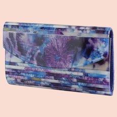 Unique Sondra Roberts vintage Lucite flowered clutch, shoulder bag, purse, handbag