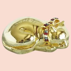 The Classic Judith Leiber vintage gold cat pill box
