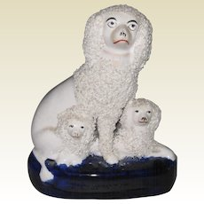 Staffordshire Mother Poodle with Two Pups on Cobalt Base