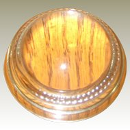 Vintage Clear Glass Domed Paperweight with Beaded Edge