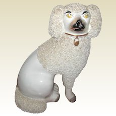 """9"""" White Staffordshire Poodle with Separate Front Feet - Circa 1870"""