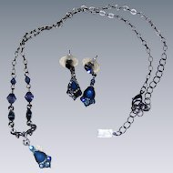 """1928"" Victorian-Inspired Imitation Sapphire Necklace and Pierced Earrings"