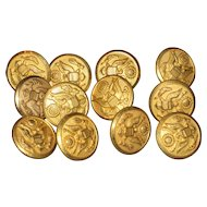 "WWII Military Army 5/8"" Brass Buttons - Unused - Lot of 12"