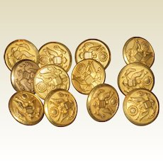 """WWII Military Army 5/8"""" Brass Buttons - Unused - Lot of 12"""