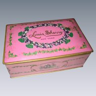 Mid Century Pink Louis Sherry Tin Filled with Vintage Buttons