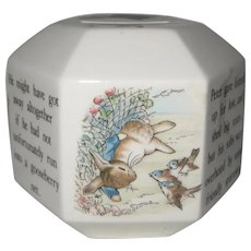 Hexagonal Wedgwood China Bank with Peter Rabbit