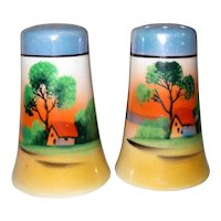 Nippon Salt and Pepper Shakers with Sunset Scene - Lusterware - Japan