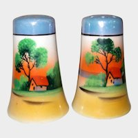 Salt and Pepper Shakers with Sunset Scene - Lusterware - Japan