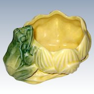 1940's Frog with Yellow Waterlily or Lotus Planter