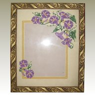 Hand Embroidered Cross Stitch Morning Glory Photo Frame - Purple