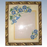 Hand Embroidered Cross Stitch Morning Glory Photo Frame - Blue