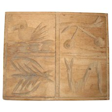 Hand Carved Wooden Springerle Press or Butter Print Mold - Rural Pennsylvania - Bird, Cherry, Snake