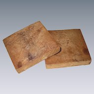 Two Small Hand Carved Prints, Stamps or Press Molds