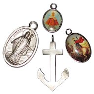 Four Small Religious Medals - St. Patrick, St. George, Infant of Prague and Anchor of Faith