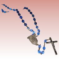 Lourdes Pilgrimage Rosary with Blue Faceted Crystals and Holy Water Receptacle - Original Leather Case