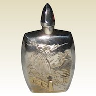 Sterling Silver Engraved Design Japanese Perfume Flask - mid 1900's
