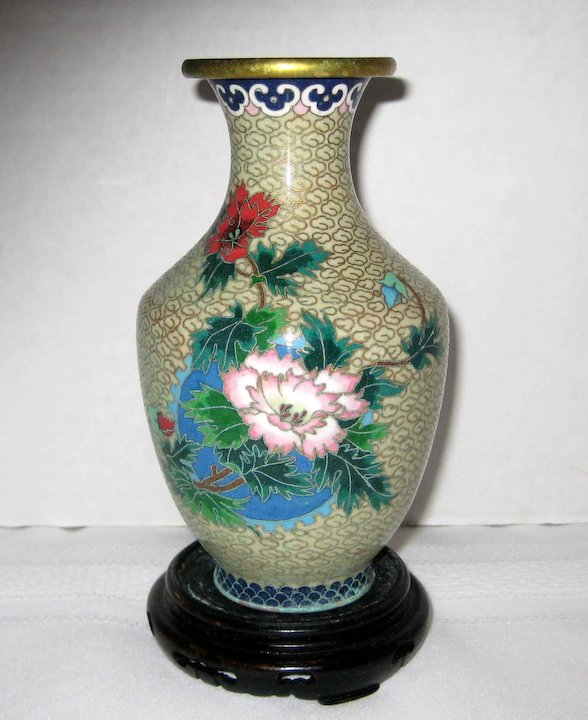 6 Chinese Cloisonne Vase With Peonies Wooden Stand