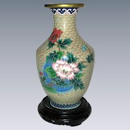 """6"""" Chinese Cloisonne Vase with Peonies, Wooden Stand"""
