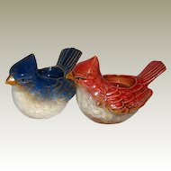 Pair of Ceramic Bird Votive Candle Holders  Cardinal and Blue Jay