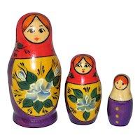 Set of Three Small Russian Matryoshka Wooden Nesting Dolls