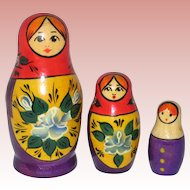 Set of Three Small Russian Matryoshka Wooden Nesting Dolls