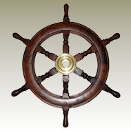 Decorative Wooden and Brass Ship's Wheel - 18""