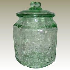 Large Green Planters Pennant Peanuts Jar - Circa 1975