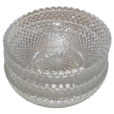 Three Pressed Glass Individual Salt Dishes - Miniature Bowls