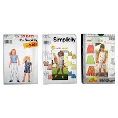 Three Unused Young Girls Sewing Patterns from the 1990's