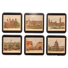 Box Set of Six Unused Pimpernel Drink Coaster - London Scenes