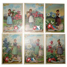 Set of 6 Liebig Cards - Alpine Flowers- Fleurs Alpines - Swiss Traditional Costume 1896