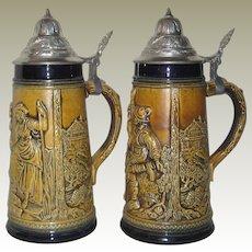 """Pair of Marzi Remy West German Stoneware 9"""" Lidded Beer Steins"""