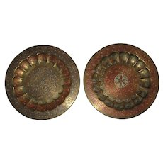 """Pair of Engraved and Enameled Brass Plates, Platters or Chargers from India - 11 5/8"""" Each"""