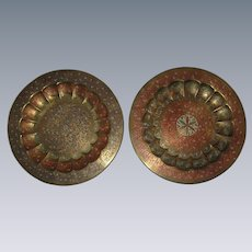 """Pair of Engraved and Enameled Brass Plates, Platters or Chargers from India - 11 5/8"""""""