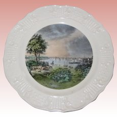 """Currier and Ives Reproductions Americana Series 10"""" Plate - Baltimore Taken Near Whetstone Point"""